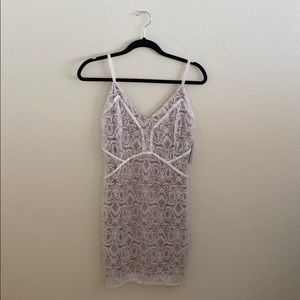 Guess White Lace Overlay Dress - Medium